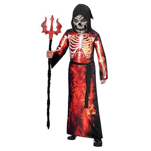 amscan 9905060 Disfraz de Segador Rojo Ardiente Edad 10-12 Aos-1 Pieza
