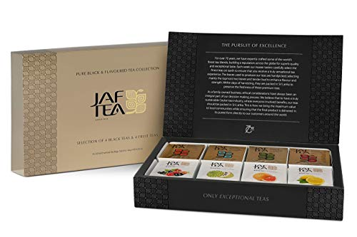 Jaf Tea - Assortie - Purer Schwarzer & Früchtetee - Box mit 80 Teebeutel - Geschenkbox