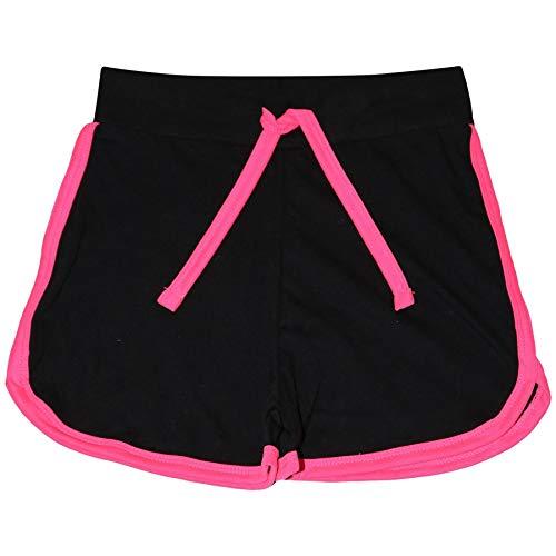 A2Z 4 Kids® Kinder Mädchen Kurze Hose 100% Baumwolle Schwarz & Neon Rosa Gym - Girls Shorts 426 Black & N Pink_13