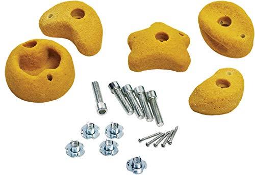 5 Stück Klettersteine klein gelb mit Drehsicherung von Gartenpirat®