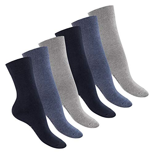Footstar Damen Baumwollsocken (6 Paar), handgekettelte flache Spitze - Everyday! - Jeans 35-38