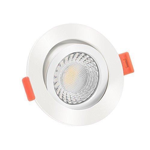 10x dimmbare, 25mm flache Aluminium LED Einbaustrahler | Extrem hell & Cri 90 | 7W statt 90W | 230V | 3000 Kelvin 520 Lumen | warmweiße Lichtfarbe | weiß | 10er Set 3000K