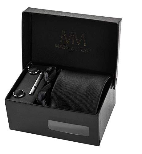Massi Morino ® Ensemble Cravate en Microfibre, Pince à Cravate Argent, Boutons de Manchette et Pochette – Toucher Soyeux (Noir)