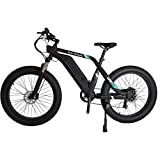 26'' Fat Tire Electric Bike for Adults 48V 13Ah Large Capacity Lithium-Ion Battery, 750W Motor 7 Speed Gear Snow Beach Mountain City Riding Ebike Electric Bicycle Color Screen (Black)