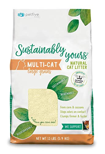 PetFive Sustainably Yours Natural Sustainable MultiCat Litter Large Grains 13 lbs