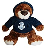Mascot Factory United States U.S. Navy Teddy Bear with Blue Hoodie Sweatshirt with Navy Logo 9 Inches Tall, Brown
