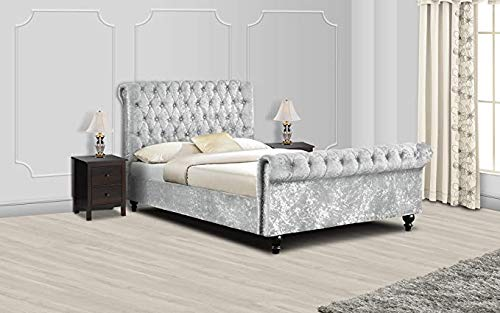 CHESTERFIELD BED FRAME (SILVER, DOUBLE)