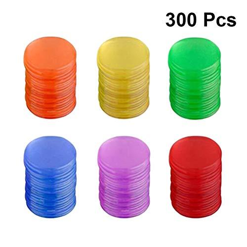 Toyvian Juego de Mesa de fichas de fichas de plástico Juego de fichas Juego de fichas Piezas Coloridas Monedas Juguetes 300pcs (Color Surtido)