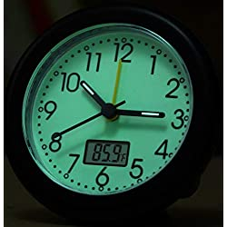 Glow in Dark Analog Travel Alarm Clock - Silent Non Ticking, Fahrenheit Thermometer LCD Display, Luminous Dial,Loud Beep Sounds,Snooze,Ultra Small Battery Operated Table/Desk Alarm Clock for Bedroom