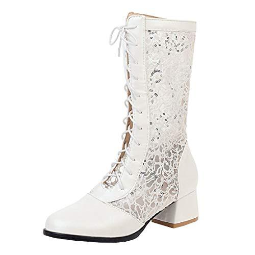 MISSUIT Damen Sommer Schnürstiefeletten mit Spitze und Schnürung Kurzschaft Stiefel Blockabsatz Sommerstiefel(Weiß,38)