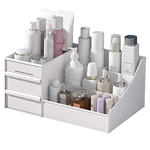 Wilany Organizador de maquillaje, caja de almacenamiento para joyas, gran capacidad, adecuado para diferentes tamaños de cosméticos, color blanco
