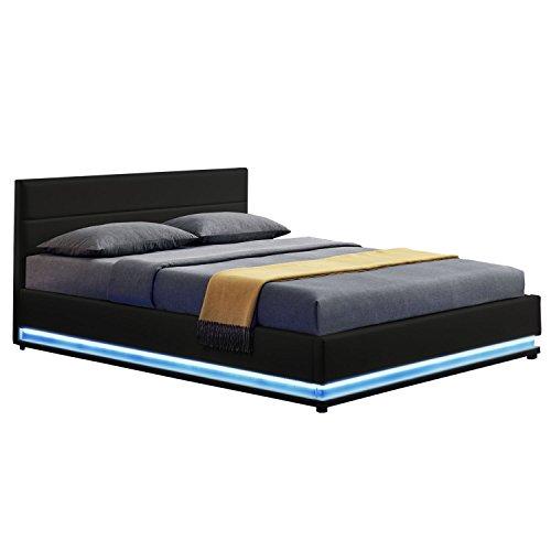 ArtLife LED Polsterbett Toulouse 180 × 200 cm mit Bettkasten & Lattenrost - Kunstleder Bezug & Holz Gestell – schwarz – Doppelbett Ehebett