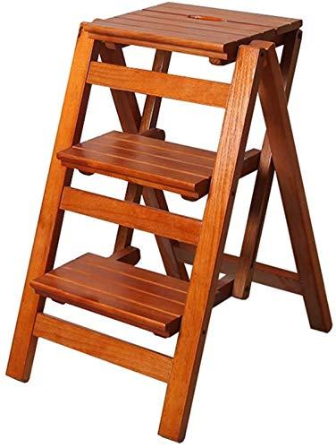 GHFHF Stepladder StepId - Calendario plegable para 3 mercados de madera livianos y niños adultos plegables para bibliotecas de loft decoración del hogar, capacidad de 150 kg (color de nogal)