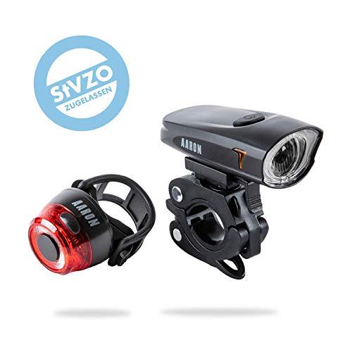 AARON LUX Fahrradlicht mit StVZO Zulassung | Hochwertiges LED USB Lichtset für Rennrad, E-Bike, Mountainbike, Trekkingrad & Tourenrad | Wiederaufladbares Frontlicht & Rücklicht IPX5/4 wasserdicht