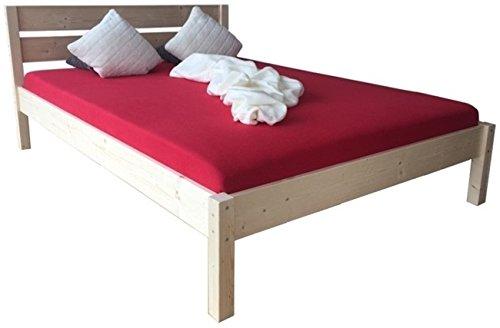 LIEGEWERK Massivholzbett Bett mit hohem Kopfteil Holz 90 100 120 140 160 180 200 x 200cm hergestellt in BRD, Holzbett (180x 200cm)