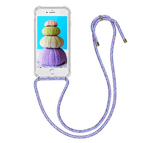 kwmobile skal kompatibel med Apple iPhone 7/8/SE (2020) – med snöre att hänga upp – silikon mobiltelefon skyddsskal transparent svart vit, Transparent Lavendel Violett