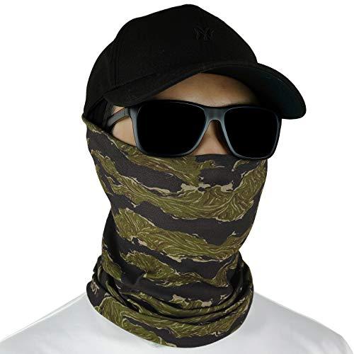 GOT Sports Fishing Face Mask Gaiter - Breathable Sun Mask, Camo Neck Gaiter, Scarf, Dust Mask, Balaclava, Bandana - Multifunctional, Breathable, Sun Protection (Olive Tiger Stripe)