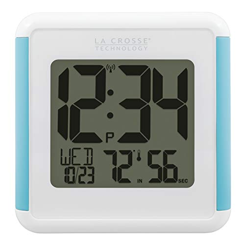 """La Crosse Technology 515-1912-INT Splash-Proof Shower Cube Atomic Clock with Temperature & Humidity, 4.92"""" L x 1.36"""" W x 5.12"""" H, White"""
