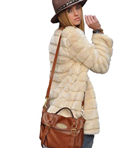 YiLianDa Chaqueta Corta de Piel Faux Abrigo con Manga Larga para Mujer de Invierno Beige L