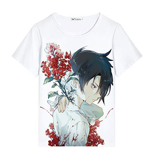Nova camiseta The Promised Neverland Emma Norman Ray legal Anime Promised Neverland Cosplay camisetas masculinas/meninos pulôver, 8, S