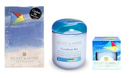 Lot de 3?Cerulean Sky Parfum Collection 1?bougie en pot 1?bougie d?corative 1?Sachet parfum?