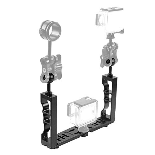 PULUZ - Impugnatura Subacquea Grip Stabilizzatore Rig per GoPro DJI Adjustable Diving Dual Hand, in Alluminio CNC, Supporto Lampada per Immersioni, Fotografia Subacquea, Surf