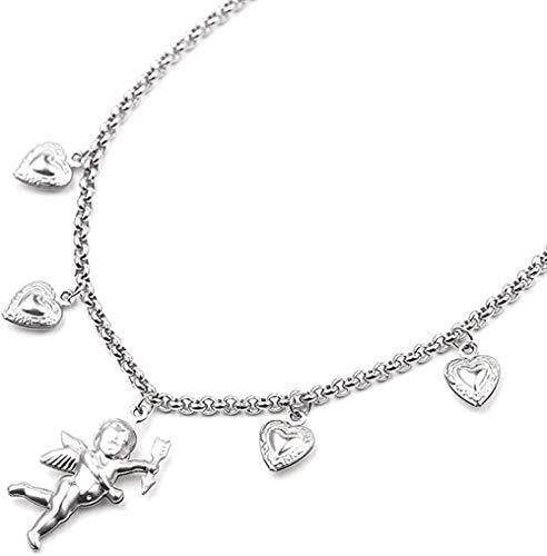 WLHLFL Collar Lindo Cupido ángel Colgante Collar Mejor Gargantilla bebé en Forma de joyería corazón para Mujeres Hombre Amistad Chica Regalos