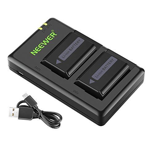 Neewer NP-FW50 Kamera Batterieladegerät Kompatibel mit Sony A6000 A6500 A6300 A6400 A7 A7II A7RII A7SII A7S A7S2 A7R A7R2 A55 A5100 RX10 (2er-Pack Micro USB Anschluss 1100 mAh)