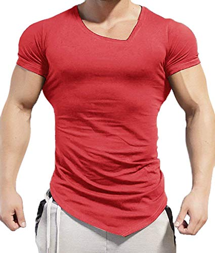 Coofandy Men's Bodybuilding Muscle Training Short Sleeve gym Workout Fitness T shirt,XX-Large,Red