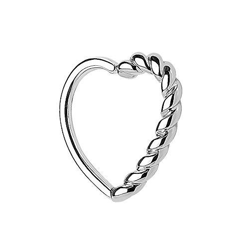Piercingfaktor Continuous Piercing Ring mit Herz geflochten gedreht für Septum Tragus Helix Ohr Cartilage Knorpel Ohrpiercing Silber