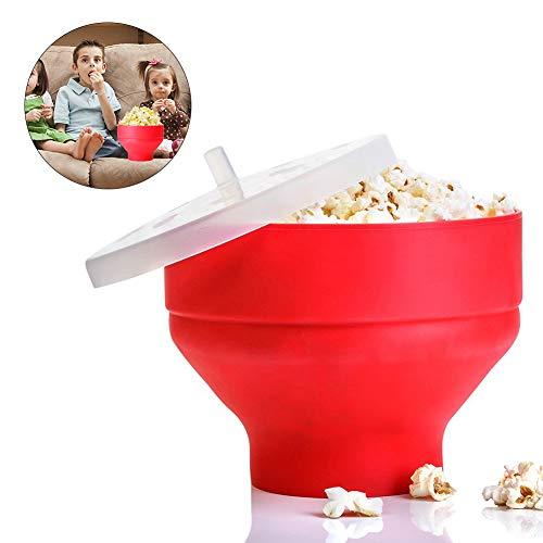 Generp Popcorn Popper┃Mikrowellen-Silikon Popcorn Maker┃ zusammenklappbare Schüssel mit Griffen ┃Popcornschüssel aus Silikon┃ Popcornmaker Mini Zusammenklappbar