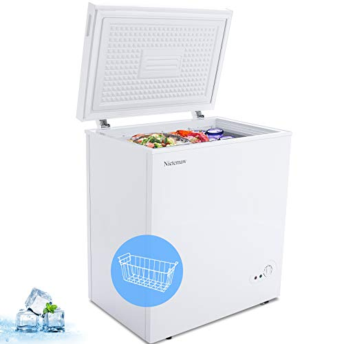 Nictemaw Chest Freezer 5.4 Cu.Ft Large Capacity Refrigerator with Energy Saving & Low Noise, 6 Gears Adjustable Temperature, with Removable Basket Deep Freezer for Kitchen/Garage/Basement(White)
