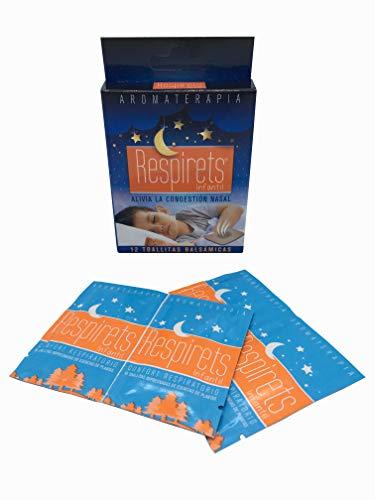 RESPIRETS confort respiratorio 12 toallitas infantiles aromáticas balsámicas, facilitan la respiración por la nariz, suavizan la garganta y calman la tos