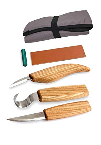American Crafters Wood Carving Tools Set - Whittling Kuksa Spoon Carving Knife Kit - 3 Knives (5pcs) Hook Chip Sloyd Detail Knife, Polishing Compound and Leather Strop in Tools Roll - For Beginners
