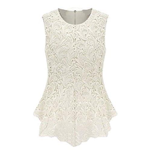 2ce7c0ed1b0f21 L&C®Sleeveless Embroidery Lace Flared Peplum Crochet Top Vest blouse
