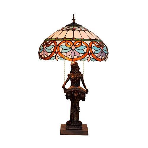 OUPPENG Dimmer Estilo de Tiffany Amor barroco Stained Glass Lámparas de mesa hecha a mano retra Dormitorio Lámparas for Estudio Sala de estar mesa de iluminación interior Lampwith base de resina, E27,