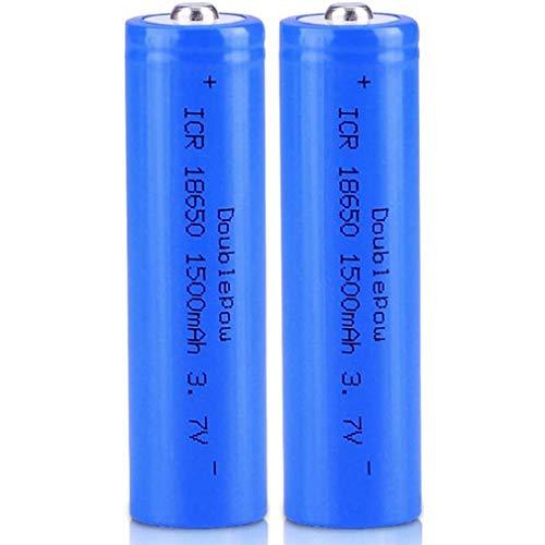 18650 Batería recargable de iones de litio de 3,7 V 1500 Mah, cabeza puntiaguda, capacidad total, práctica segura para linterna LED, antorcha y faro, dispositivos electrónicos, etc. 2 piezas (azul)
