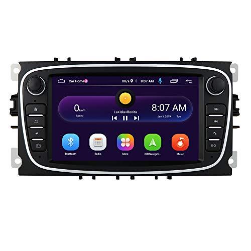 Android 10 OS 7 Zoll 2 Din Autoradio Moniceiver GPS Bluetooth Navigation für Ford C-Max/Connect/Fiesta/Focus/Fusion/Galaxy/Kuga S-Max/Transit/Mondeo(Schwarz)