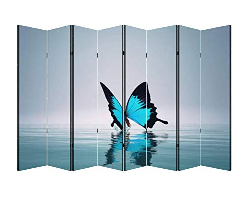 8 Panels Wall Divider A Blue Butterfly on sea This is a 3D Render Illustration Folding Canvas Privacy Partition Screen Room Divider Sound Proof Separator Freestanding Protective Divider