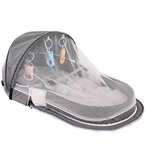 GAOYUE Tragbares Bionic Babybett Baby-Sicherheitsisolationsbett Multifunktions-BB-Außenklappbett Travel Cradle Klappbett, Grau