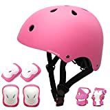 KORIMEFA Kids Bike Helmet Toddler Helmet Skateboard Protective Gear Set for Age 3-13 Boys Girls Children Knee Pads Elbow Pads Wrist Guards for Roller Skate Cycling Scooter (Pink, S)