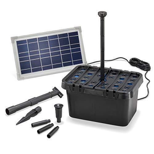 esotec 100900 - Set completo di filtri solari per laghetti e ciotole fino a 1.000 l, portata 380 l/h + modulo solare da 8 W