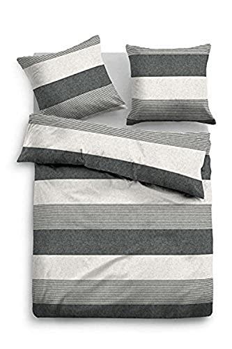 TOM TAILOR 0849790 Bettwäsche Garnitur mit Kopfkissenbezug Melange Flanell Gradual Stripes 1x 135x200 cm + 1x 80x80 cm black