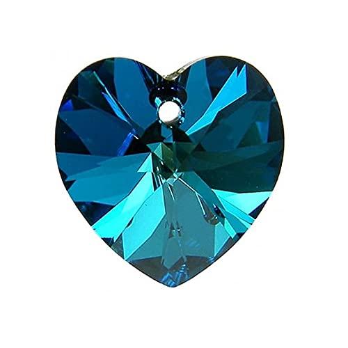 2 colgantes de cristal de Swarovski – Corazón (6228), cristal bermuda azul, 10,3 x 10 mm (colgante Swarovski Crystals – Corazón (6228), cristal bermuda azul, 10,3 x)