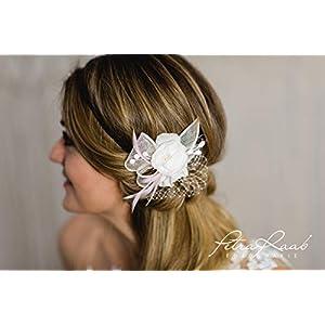 B1i Haarblume Lotusblüte Braut Chiffon Blume Haarkamm Headpieces Blüten schmuck Hochzeit ideen Royal hairdress Perlen…