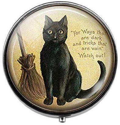 Zwarte kat met bezem heks kitten - kunst foto pil doos - bedel pil doos - glas snoep doos