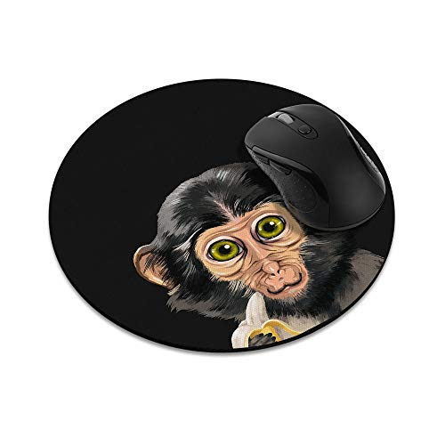 Non-Slip Round Mousepad, WIRESTER Monkey with Banana Mouse Pad for Home, Office and Gaming Desk