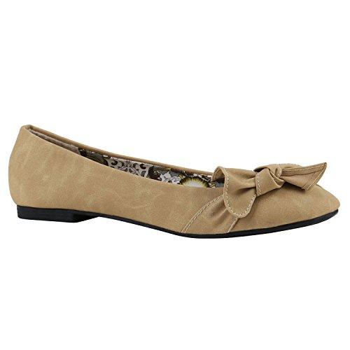 stiefelparadies Klassische Damen Strass Ballerinas Elegante Slipper Übergrößen Metallic Glitzer Flats Schuhe 144230 Creme Muster 39 Flandell