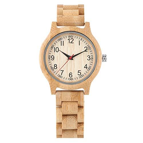 LOOMUCI Reloj de Madera Reloj de Madera de bambú Natural para Mujer, Relojes de Cuarzo de Lujo de Marca Superior, Reloj de Vestir para Mujer, Reloj de Madera para Regalos, Solo Reloj