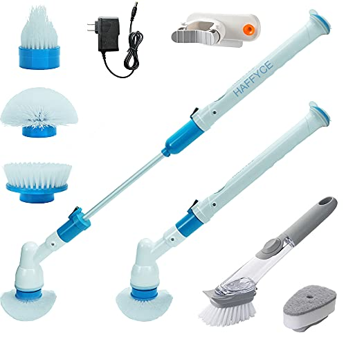 Haffyce Electric Spin Scrubber,Electric Cleaning Brush,Power Scrubber with Long Handle and Cordless,Shower Scrubber,Rechargeable Scrubber for Tile Floor Bathtub Bathroom Home and Kitchen(White)